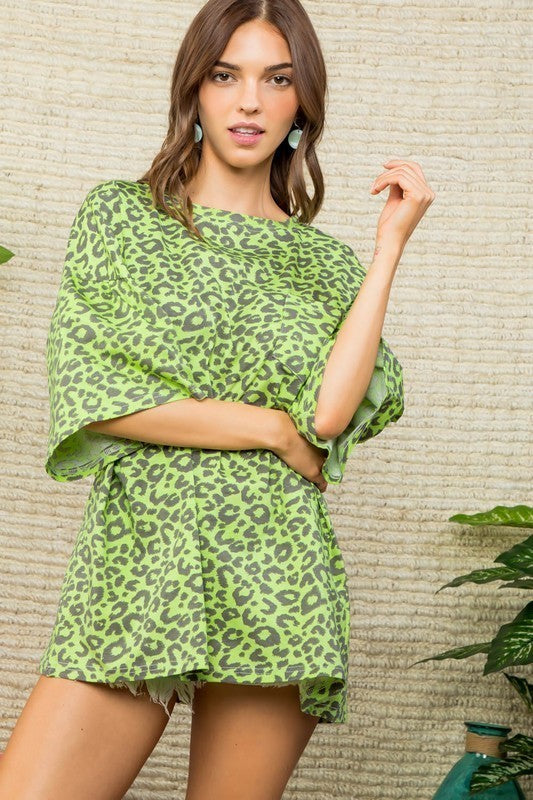 Round Neck Oversize Fit Leopard Top Green