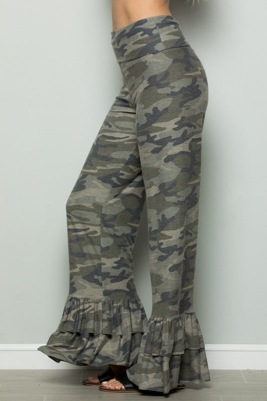 Camo Print Ruffled Pants Army