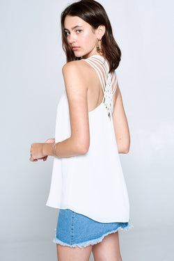 Buy Criss-Cross Back Solid Tank Top Off White online at Southern Fashion Boutique Bliss
