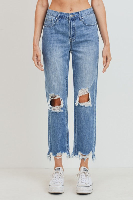 High-Rise Cropped Straight Jeans Light Denim