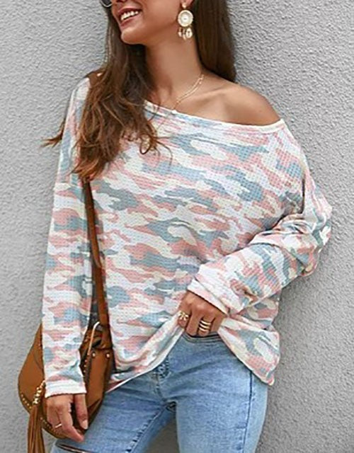 Camo Loose Fit Long Sleeve Top Pink
