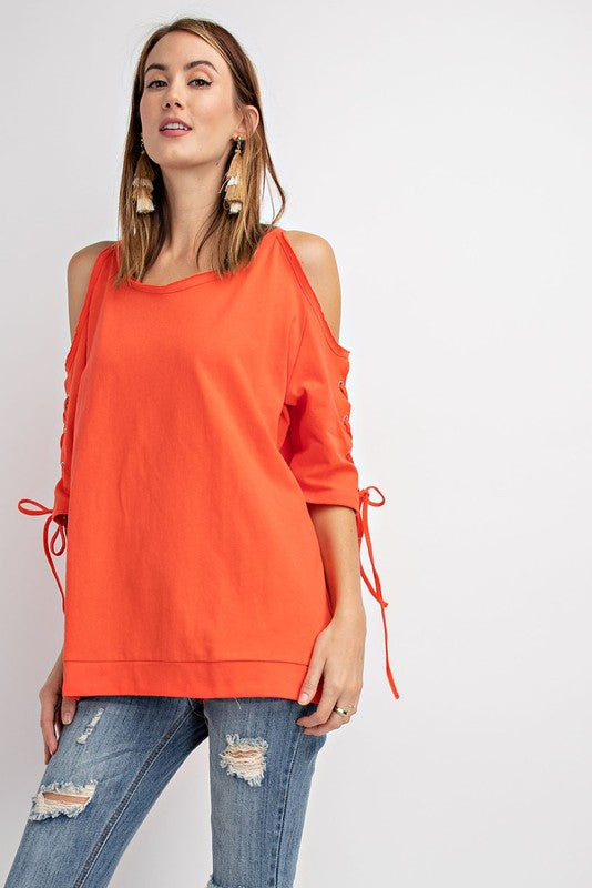 Cold Shoulder Lace Up Sleeve Tunic Top Hot Coral