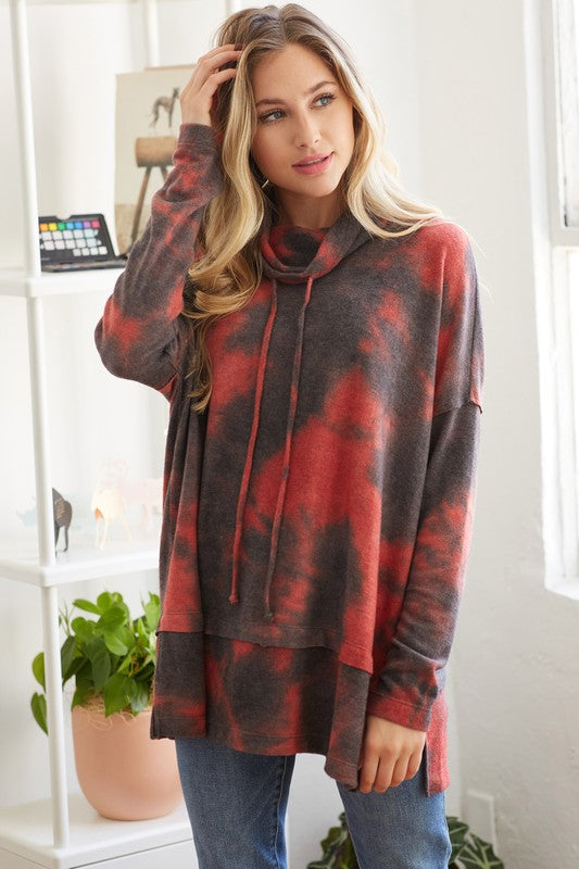 Buy Tie Dye Funnel Neck Sweatshirt Coral online at Southern Fashion Boutique Bliss
