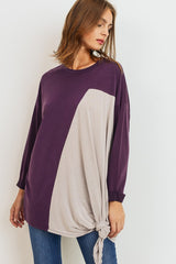 Buy Modal Side Tie Knit Top Plum online at Southern Fashion Boutique Bliss