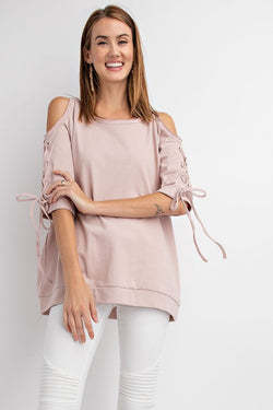 Buy Cold Shoulder Lace Up Sleeve Tunic Top Rose online at Southern Fashion Boutique Bliss