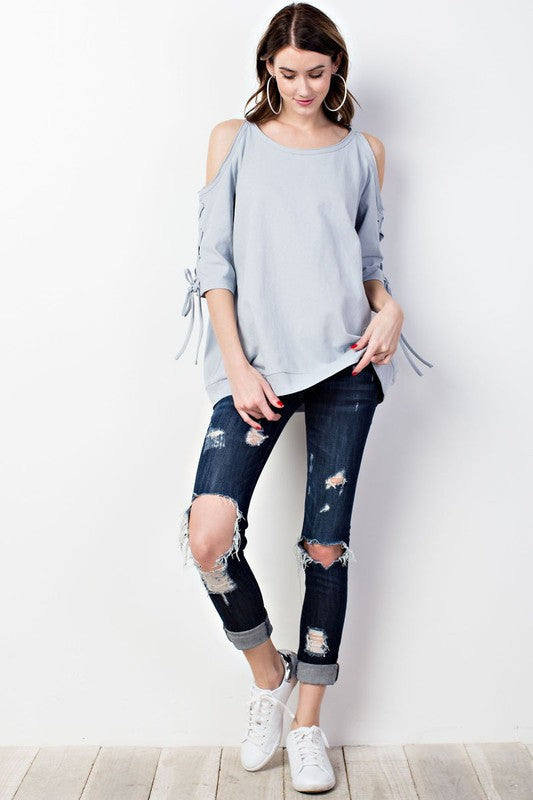 Cold Shoulder Lace Up Sleeve Tunic Top Faded Blue