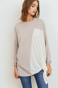 Modal Side Tie Knit Top Taupe