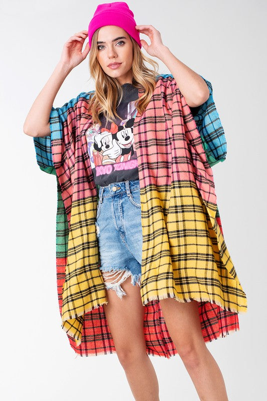 Multi-Color Plaid Frayed Hem Kimono Yellow