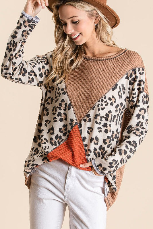 Popcorn Waffle Color Block Top Camel/Rust