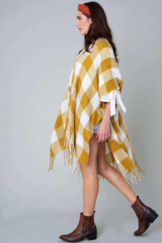 Buy Buffalo Plaid Fringed Hem Kimono Mustard online at Southern Fashion Boutique Bliss