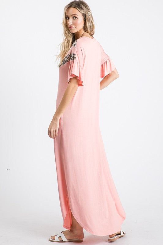 Ruffled Sleeve Leopard V Maxi Dress Blush