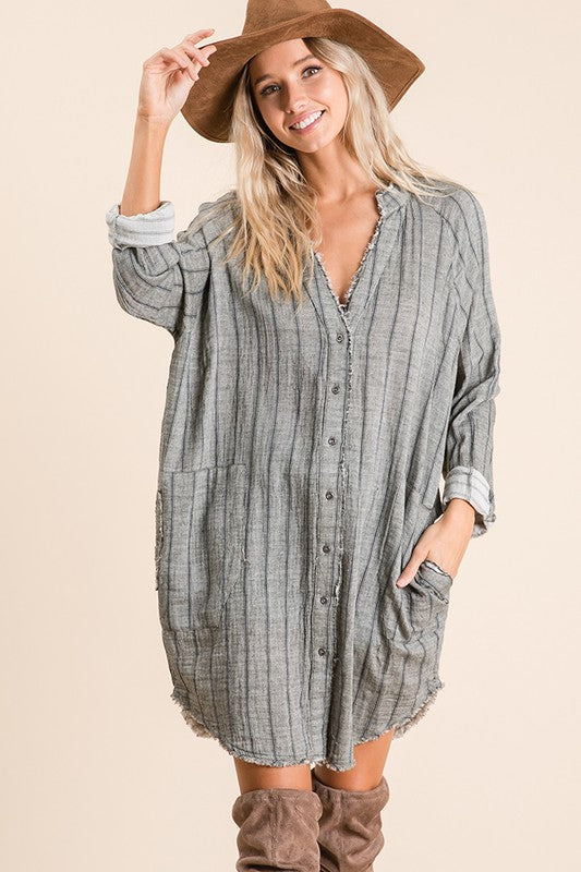 Stripe Printed Woven Tunic Top Grey