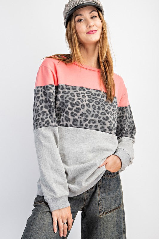 Buy Terry Knit Color Block Top Grey online at Southern Fashion Boutique Bliss
