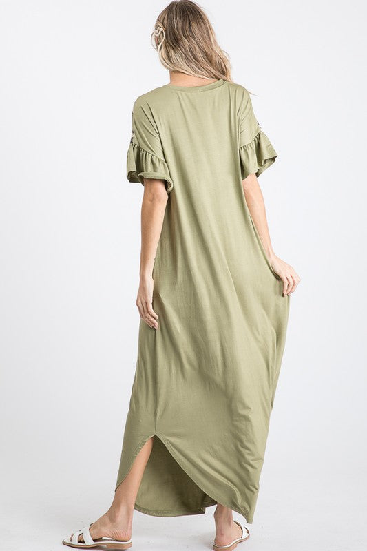 Buy Ruffled Sleeve Leopard V Maxi Dress Sage online at Southern Fashion Boutique Bliss