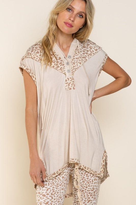 Relaxed Sleeveless Hoodie Top Ivory