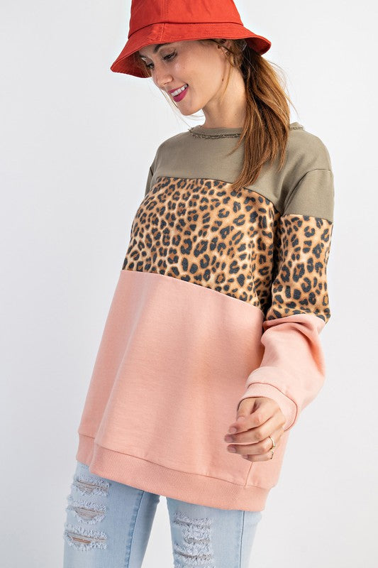 Terry Knit Color Block Top Peach