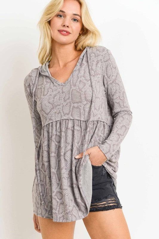 Buy Snake Print Hoodie Top Purple/Grey online at Southern Fashion Boutique Bliss