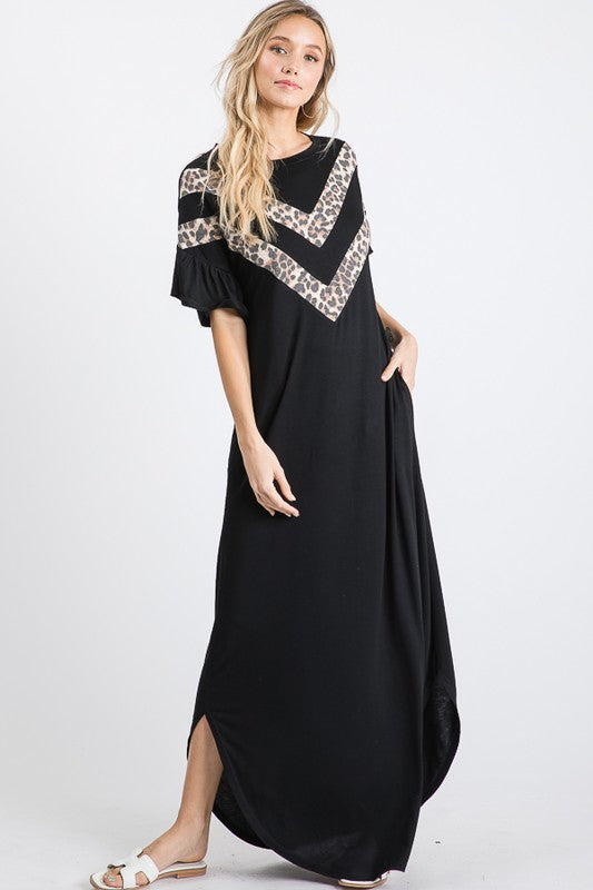 Ruffled Sleeve Leopard V Maxi Dress Black