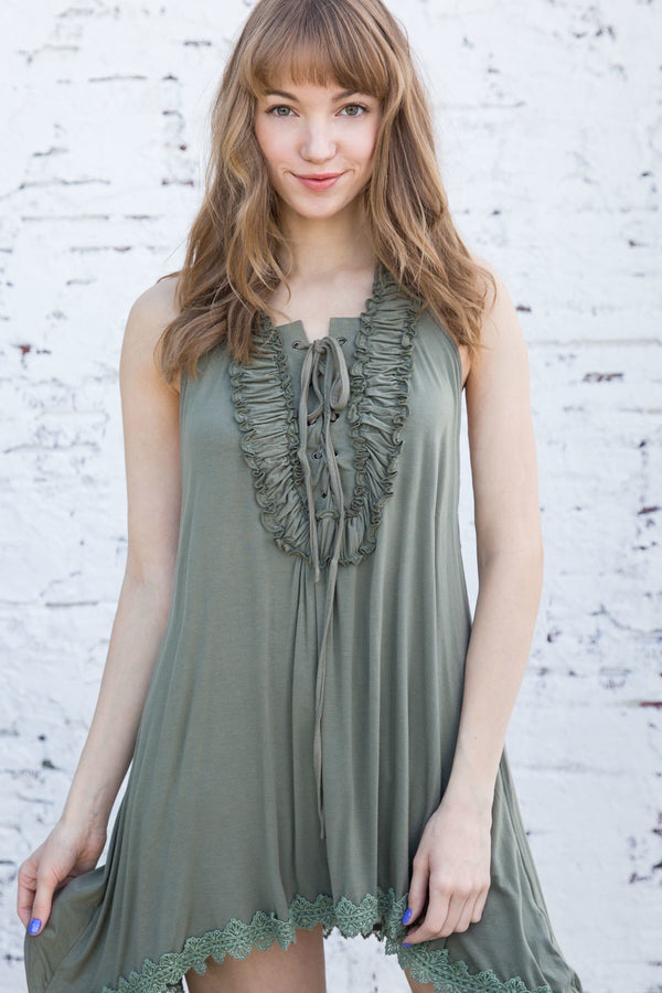 Buy Ruffled Lace Up Sleeveless Tank Olive online at Southern Fashion Boutique Bliss