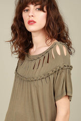 Buy Braided Laser Cut Tunic Top Olive online at Southern Fashion Boutique Bliss