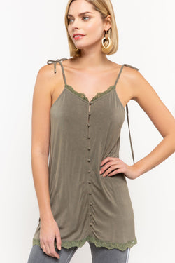 Buy Covered Button Front Cami Olive online at Southern Fashion Boutique Bliss