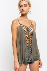 Buy Knit Rayon Jersey Sleeveless Top Olive online at Southern Fashion Boutique Bliss