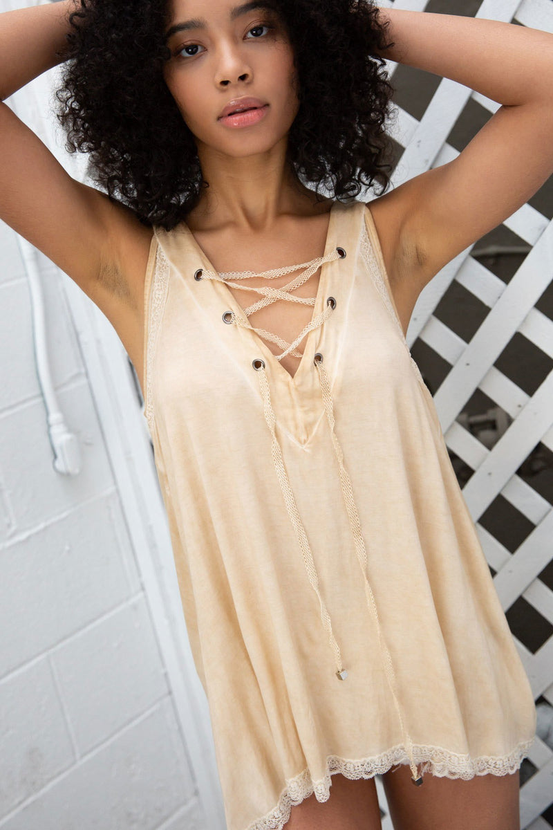 Buy Back Lace Panel V-Neck Sleeveless Top Honey online at Southern Fashion Boutique Bliss