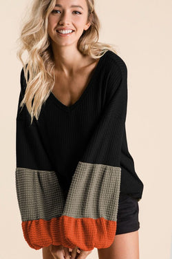 Buy Thermal Waffle V-Neck Top Black online at Southern Fashion Boutique Bliss