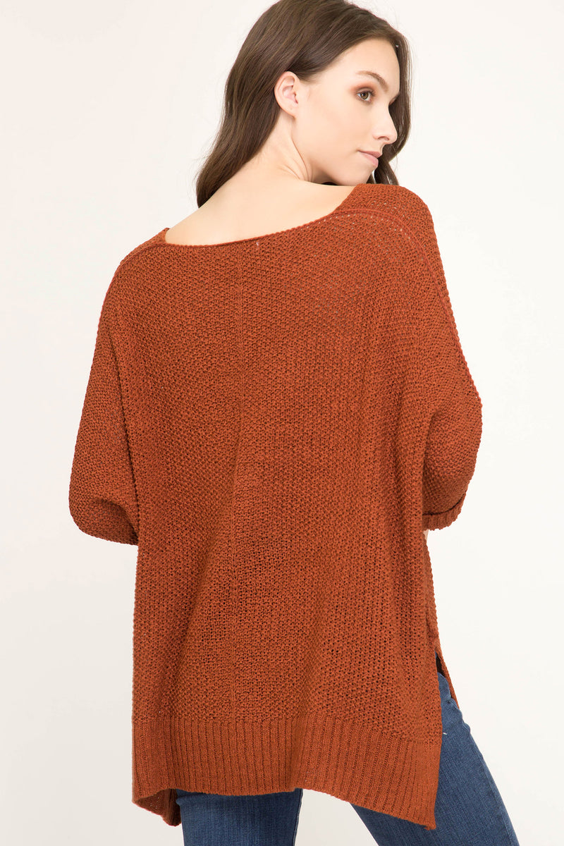 Buy Hi-Lo Sweater Top 3/4 Sleeves Folded Cuffs Rust online at Southern Fashion Boutique Bliss