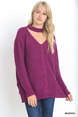 Buy Cable Knit Mock Neck Sweater Keyhole Cutout Magenta online at Southern Fashion Boutique Bliss