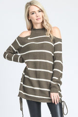 Buy Striped Halter Sweater Top Cold Shoulder Mocha/Ivory online at Southern Fashion Boutique Bliss