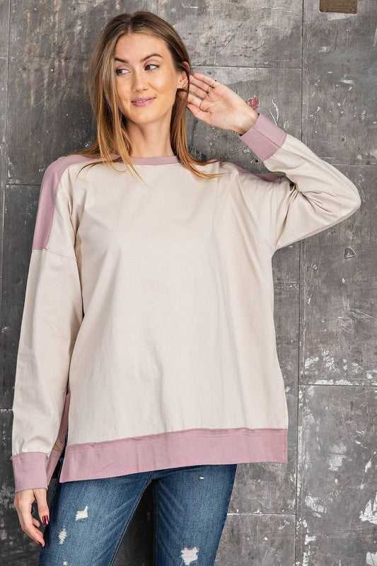 Buy Color Block Pullover Top Mauve Taupe online at Southern Fashion Boutique Bliss