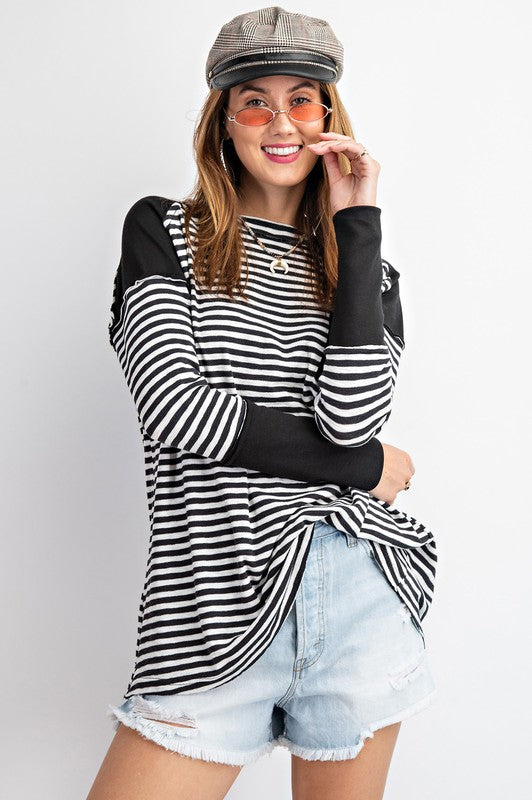Stripe and Solid Mix Top Black