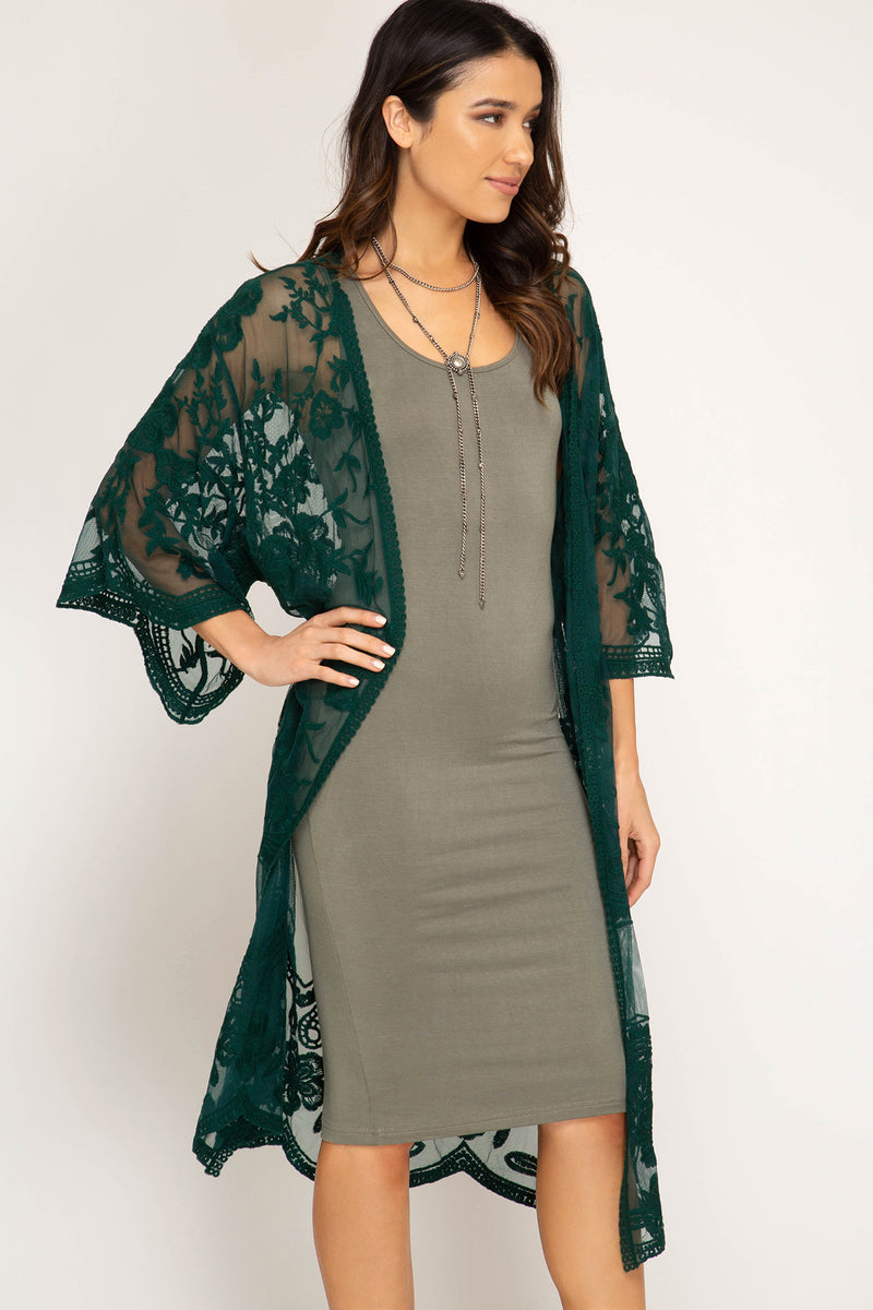 Buy Half Sleeve Crochet Lace Midi Duster Kimono Sea Green online at Southern Fashion Boutique Bliss
