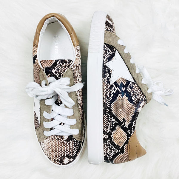 Buy Snake Print Low Top Star Sneakers Taupe online at Southern Fashion Boutique Bliss