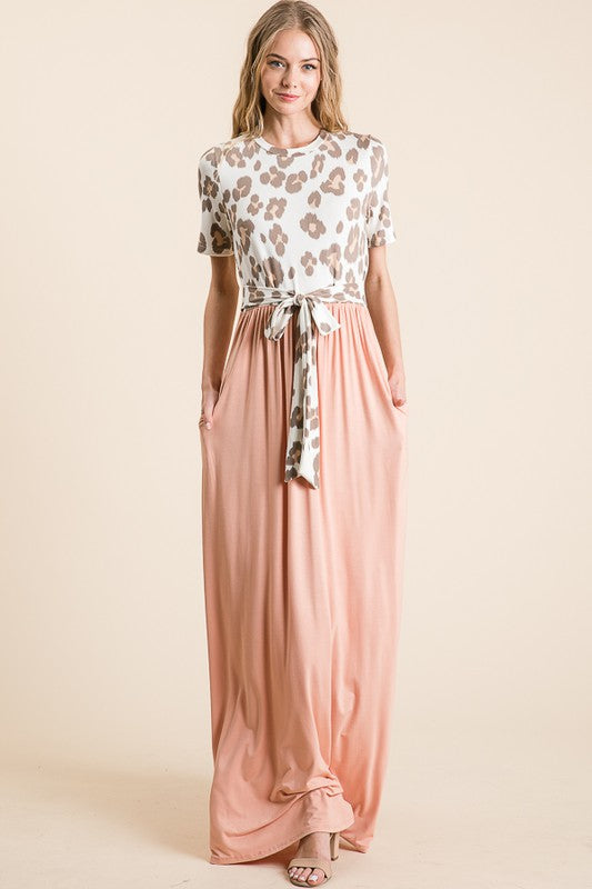 Buy Leopard Contrast Round Neck Dress Ivory/Blush online at Southern Fashion Boutique Bliss