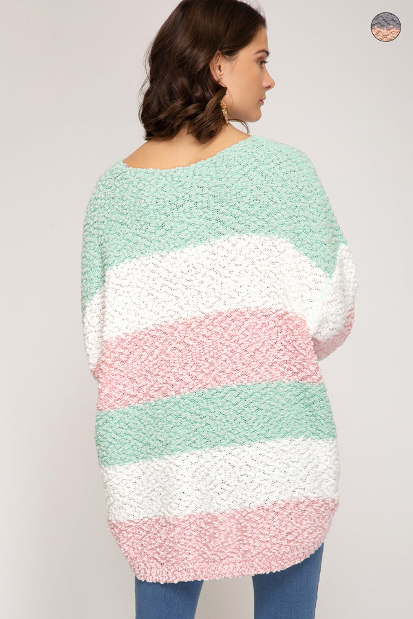 Buy Striped Fuzzy Knit Sweater Top Mint/Pink online at Southern Fashion Boutique Bliss