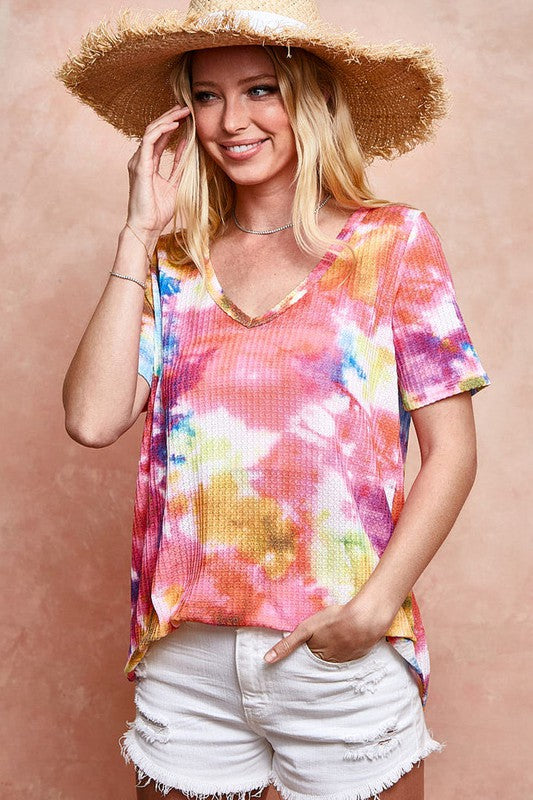 Buy Tie Dye Thermal Waffle Top Pink online at Southern Fashion Boutique Bliss