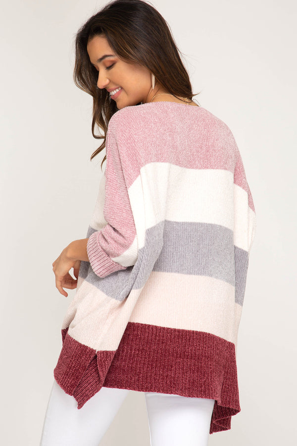 Buy Hi-Low 3/4 Sleeve Chenille Stripe Sweater Rose/Berry online at Southern Fashion Boutique Bliss