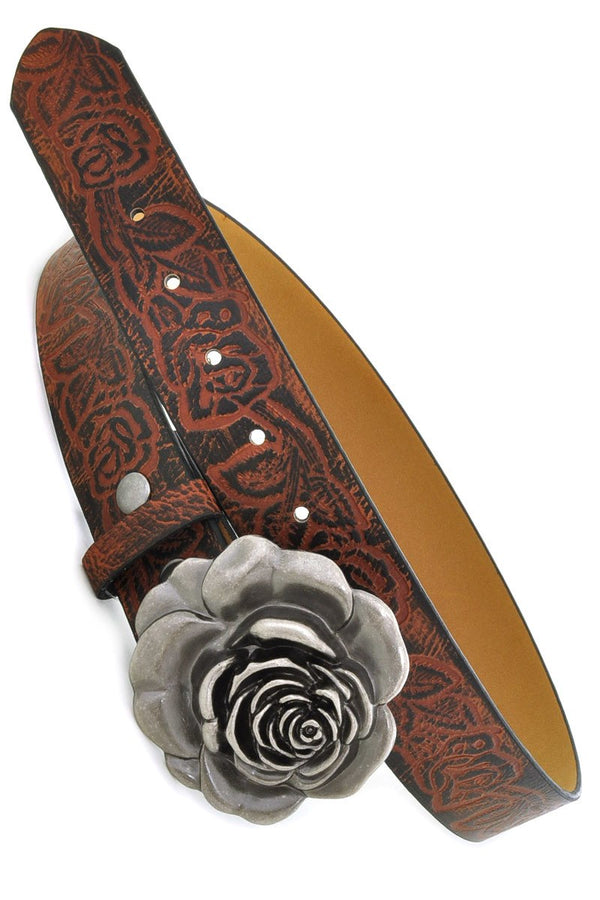 Buy Western Leatherette Flower Buckle Belt Dark Brown online at Southern Fashion Boutique Bliss