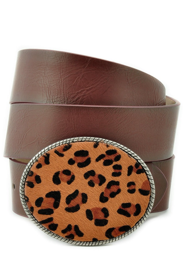 Buy Leopard Print Large Oval Belt Buckle Belt Dark Brown online at Southern Fashion Boutique Bliss