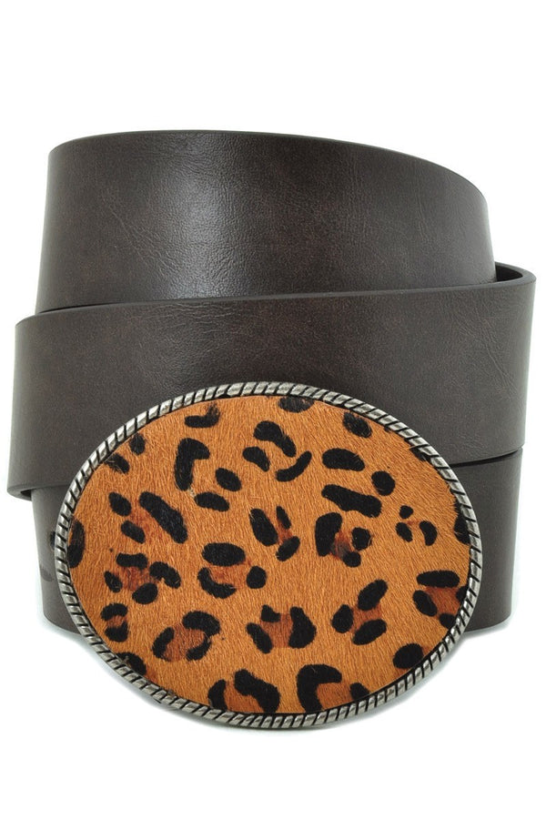 Buy Leopard Print Large Oval Belt Buckle Belt Black online at Southern Fashion Boutique Bliss