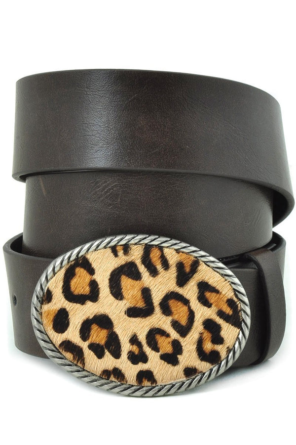Buy Leopard Print Small Oval Belt Buckle Belt Black online at Southern Fashion Boutique Bliss