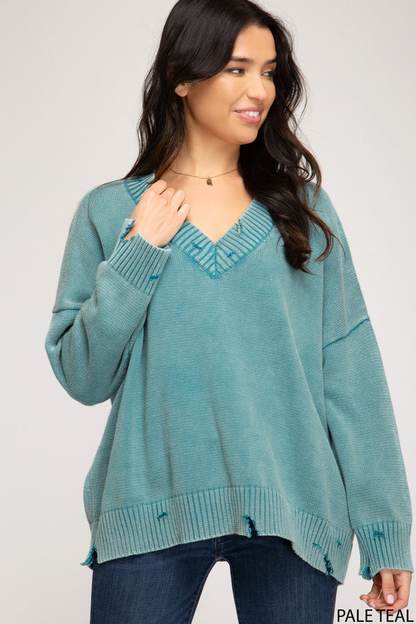 V-Neck Mineral Washed Knit Sweater Teal