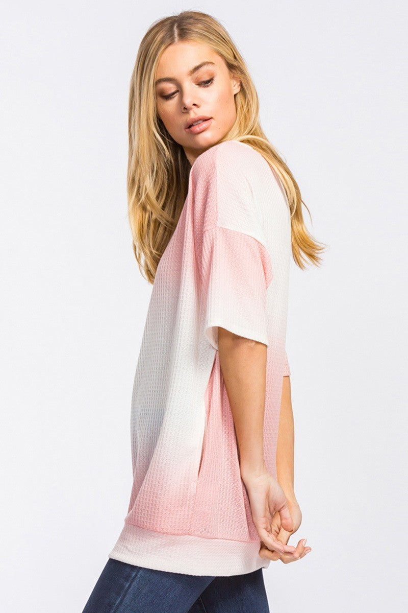 Buy Waffle Knit Short Sleeve Tunic Top w/Pockets Pink online at Southern Fashion Boutique Bliss