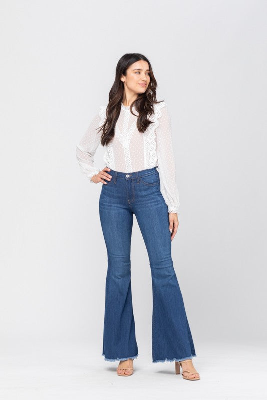 High Waist Super Flare Blue Jeans
