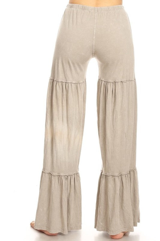 Mineral Washed Layer Wide Leg Pant Taupe - Athens Georgia Women's Fashion Boutique