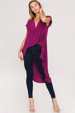 Buy Draped Crossover High Low Hem Top Magenta online at Southern Fashion Boutique Bliss