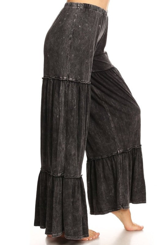 Mineral Washed Layer Wide Leg Pant Black - Athens Georgia Women's Fashion Boutique