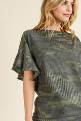 Buy Ribbed Camo Boat Neck Top Army Green online at Southern Fashion Boutique Bliss